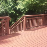 Deck, stairs and railing cleaned up and stained